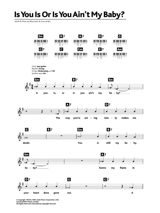 Diana Krall Is You Is Or Is You Ain't My Baby? sheet music notes and chords. Download Printable PDF.
