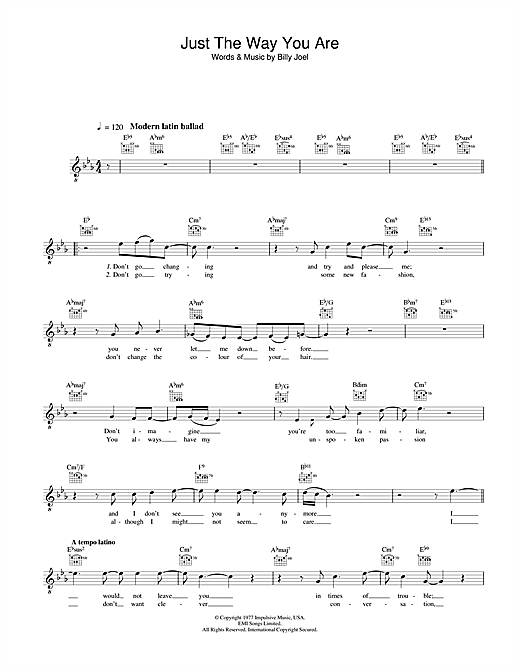 Diana Krall Just The Way You Are sheet music notes and chords
