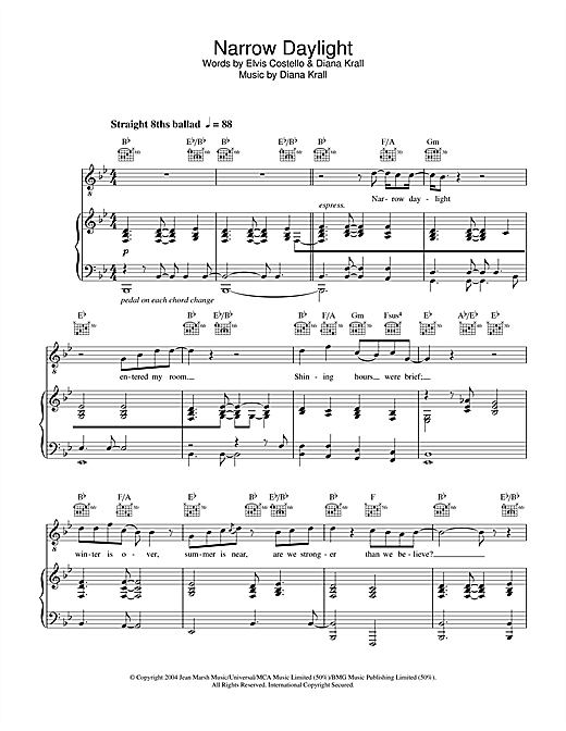 Diana Krall Narrow Daylight sheet music notes and chords. Download Printable PDF.