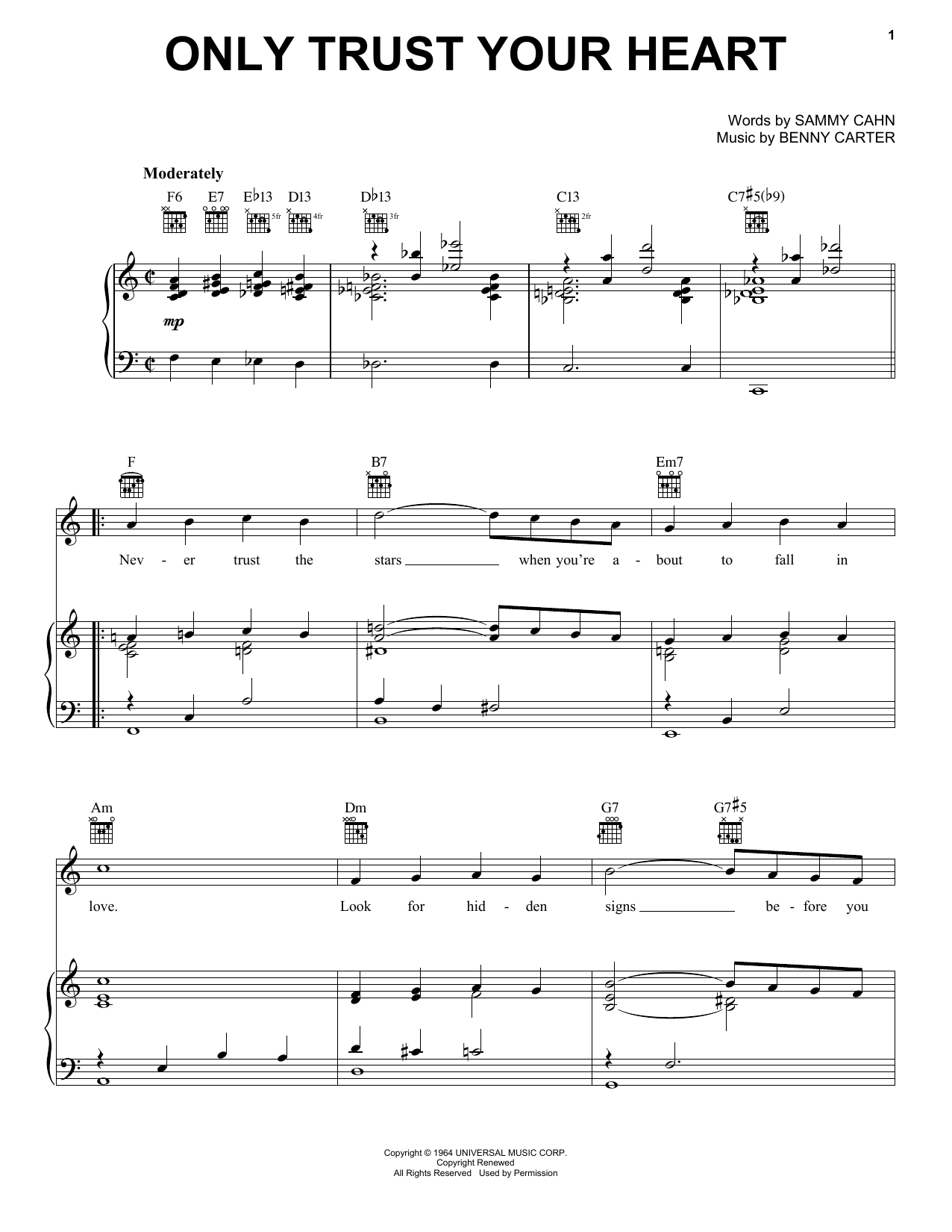 Diana Krall Only Trust Your Heart sheet music notes and chords. Download Printable PDF.