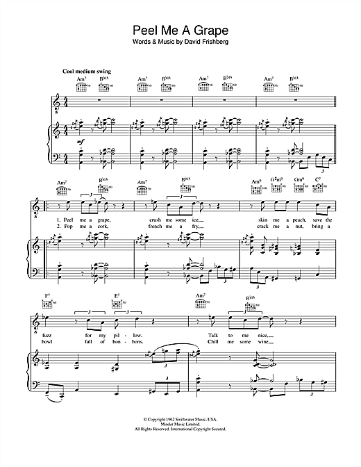 Diana Krall Peel Me A Grape sheet music notes and chords