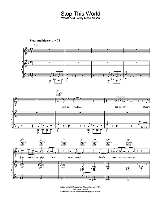 Diana Krall Stop This World sheet music notes and chords. Download Printable PDF.