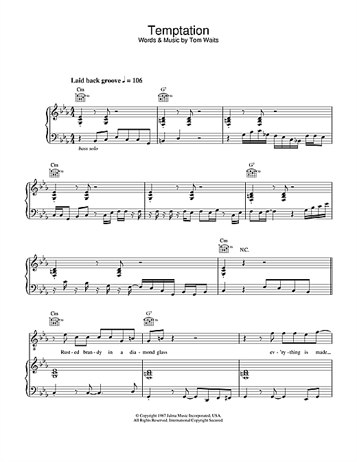 Diana Krall Temptation sheet music notes and chords. Download Printable PDF.