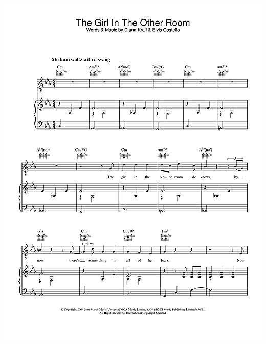 Diana Krall The Girl In The Other Room sheet music notes and chords. Download Printable PDF.