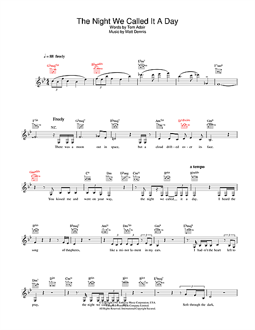 Diana Krall The Night We Called It A Day sheet music notes and chords. Download Printable PDF.