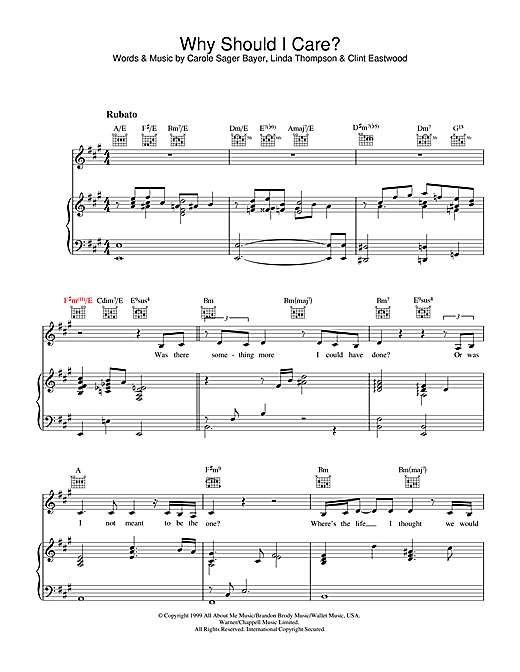 Diana Krall Why Should I Care sheet music notes and chords. Download Printable PDF.