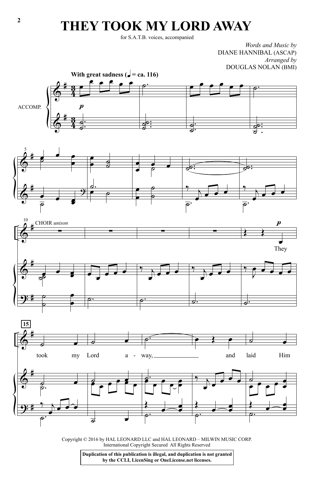 Diane Hannibal They Took My Lord Away (arr. Douglas Nolan) sheet music notes and chords. Download Printable PDF.