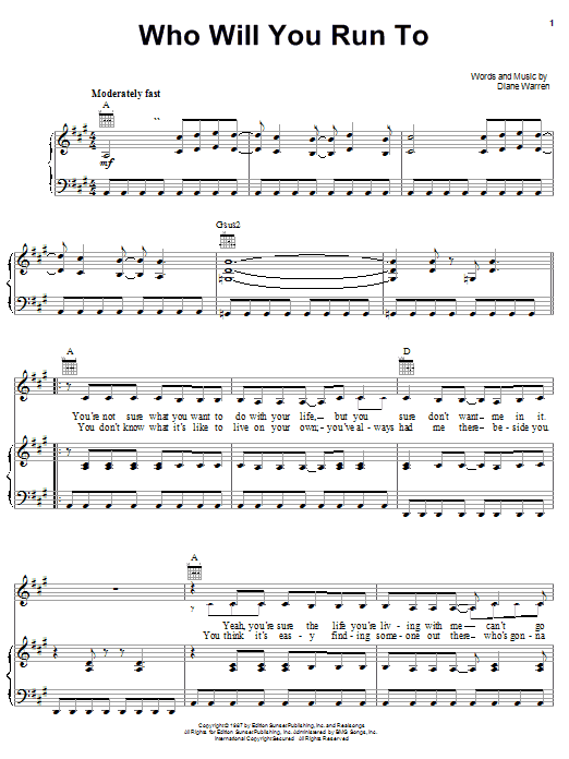 Diane Warren Who Will You Run To sheet music notes and chords