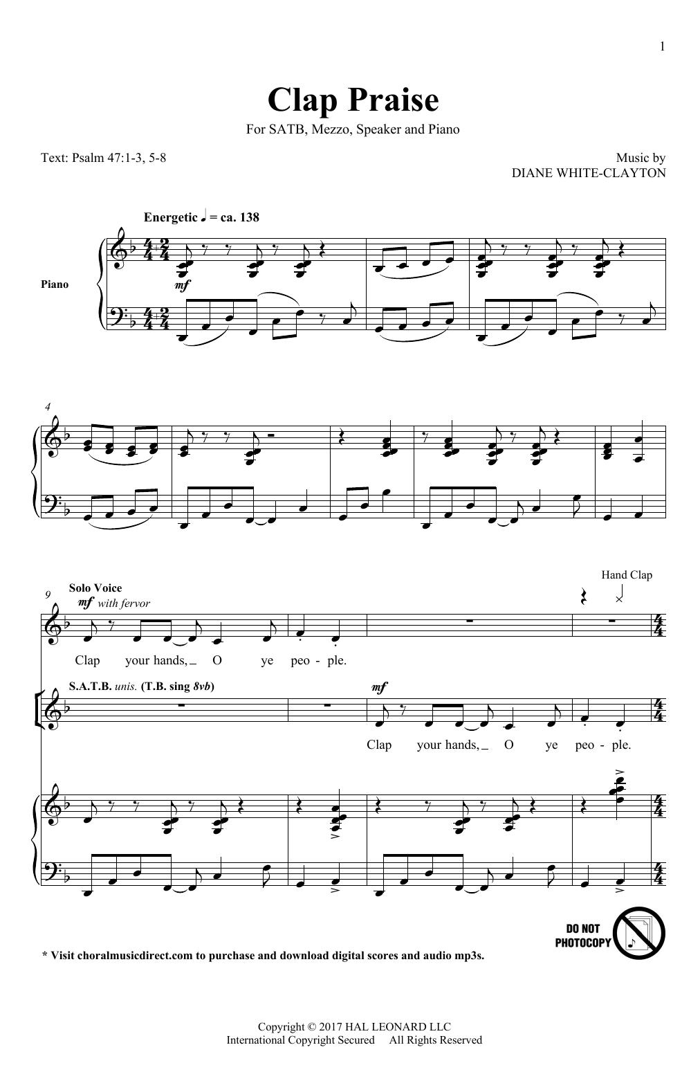 Diane White-Clayton Clap Praise sheet music notes and chords. Download Printable PDF.