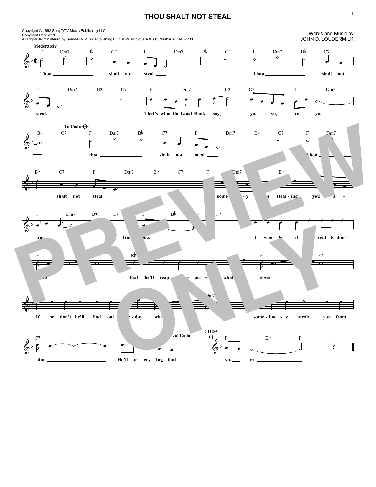 Dick and DeeDee Thou Shalt Not Steal sheet music notes and chords. Download Printable PDF.