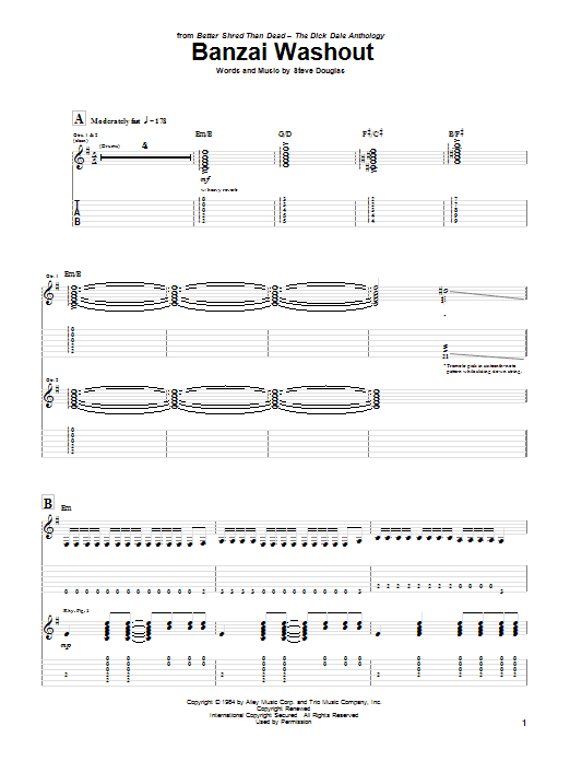 Dick Dale Banzai Washout sheet music notes and chords. Download Printable PDF.