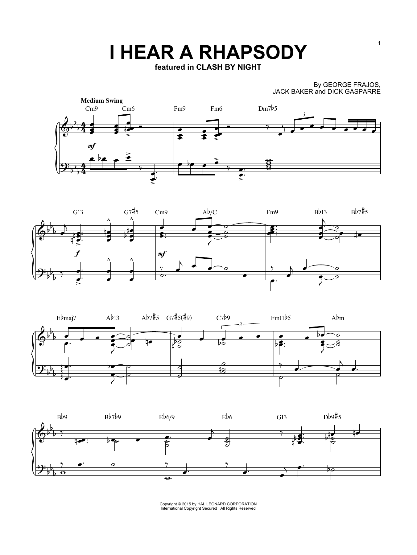 Dick Gasparre I Hear A Rhapsody sheet music notes and chords