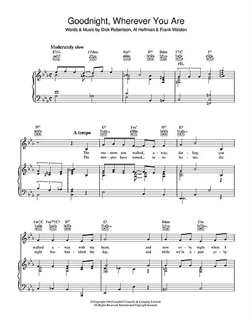Dick Robertson Goodnight, Wherever You Are sheet music notes and chords. Download Printable PDF.