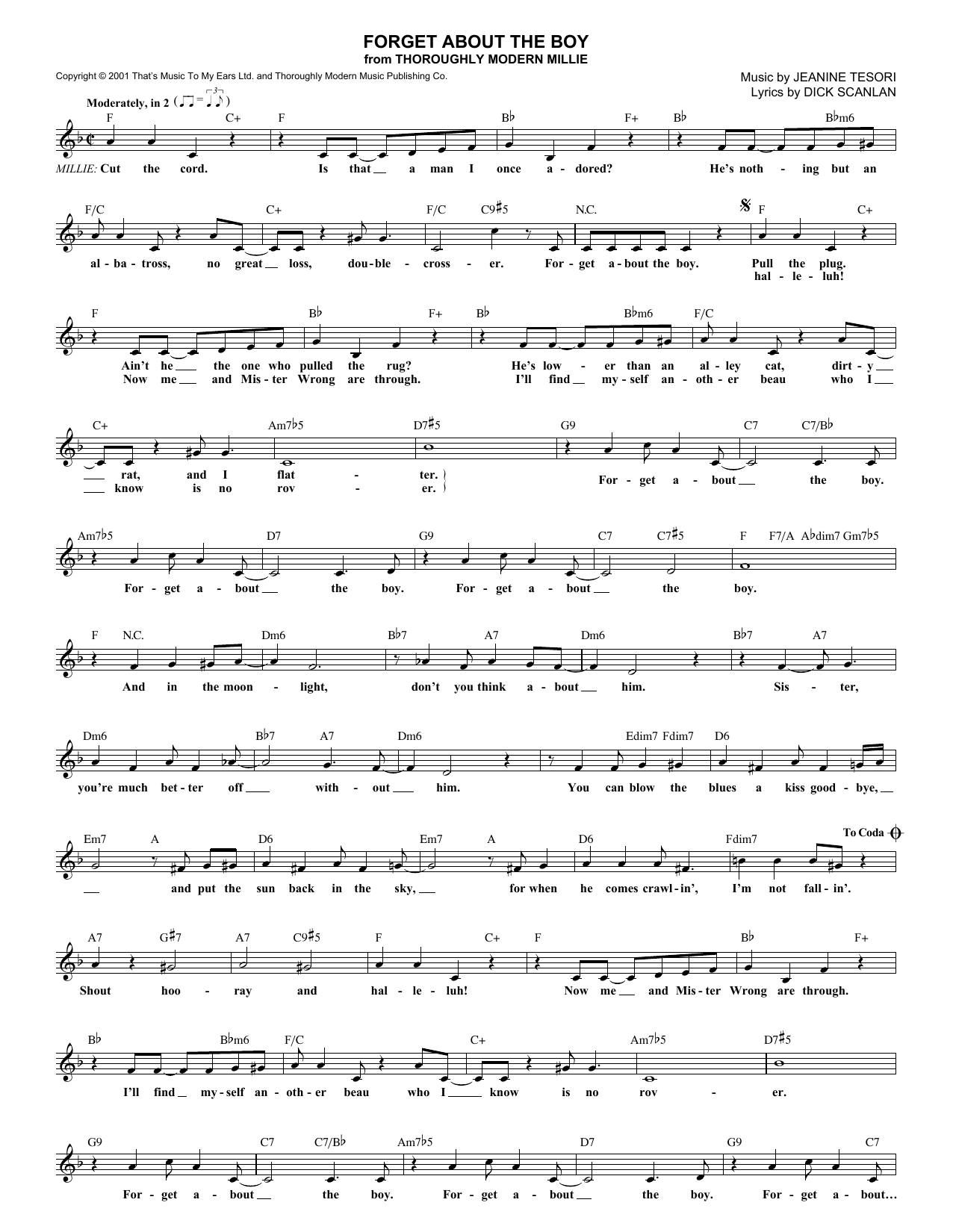 Dick Scanlan Forget About The Boy (from Thoroughly Modern Millie) sheet music notes and chords. Download Printable PDF.