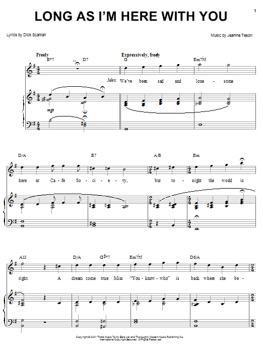 Dick Scanlan Long As I'm Here With You (from Thoroughly Modern Millie) sheet music notes and chords. Download Printable PDF.