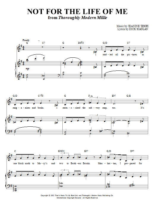 Dick Scanlan Not For The Life Of Me (from Thoroughly Modern Millie) sheet music notes and chords. Download Printable PDF.