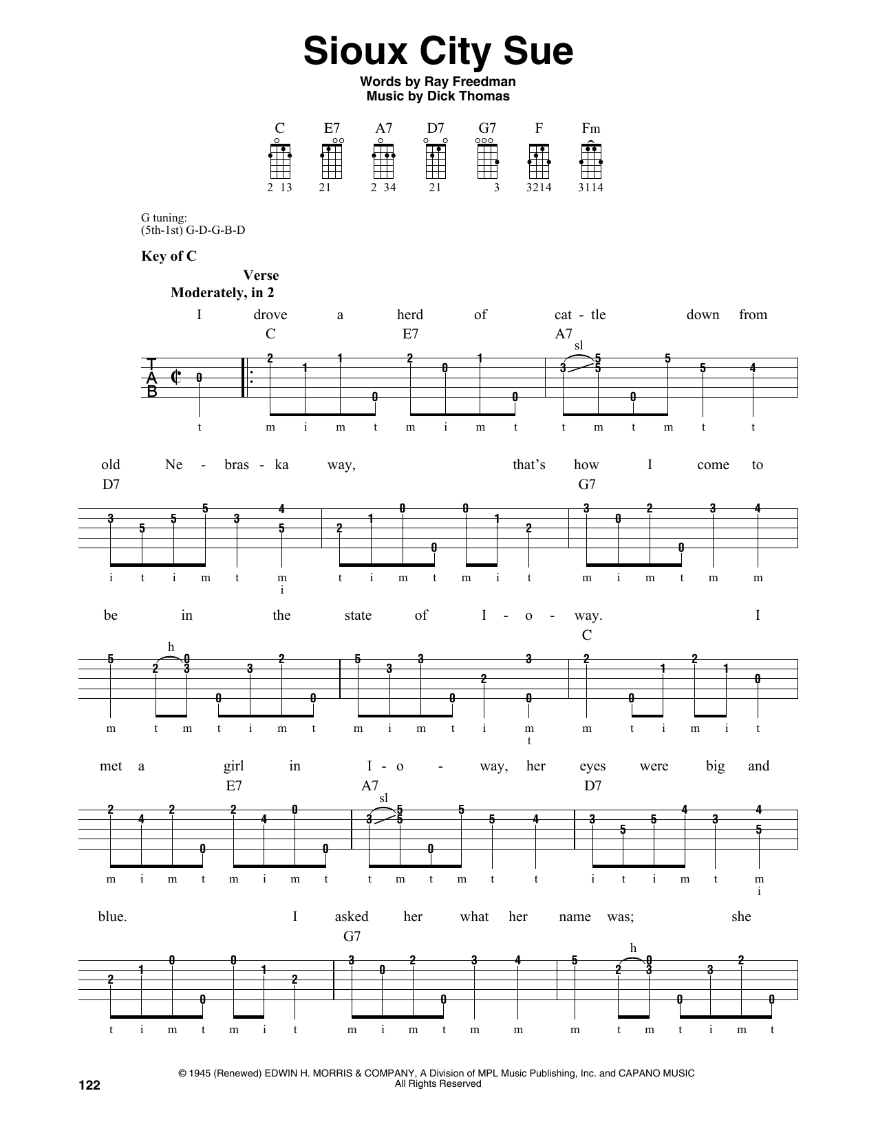 Dick Thomas Sioux City Sue sheet music notes and chords. Download Printable PDF.
