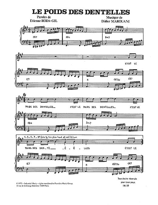 Didier Marouani Le Poids Des Dentelles sheet music notes and chords. Download Printable PDF.