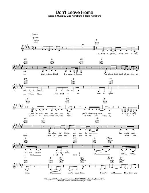 Dido Don't Leave Home sheet music notes and chords. Download Printable PDF.