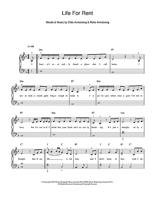 Dido Life For Rent sheet music notes and chords. Download Printable PDF.