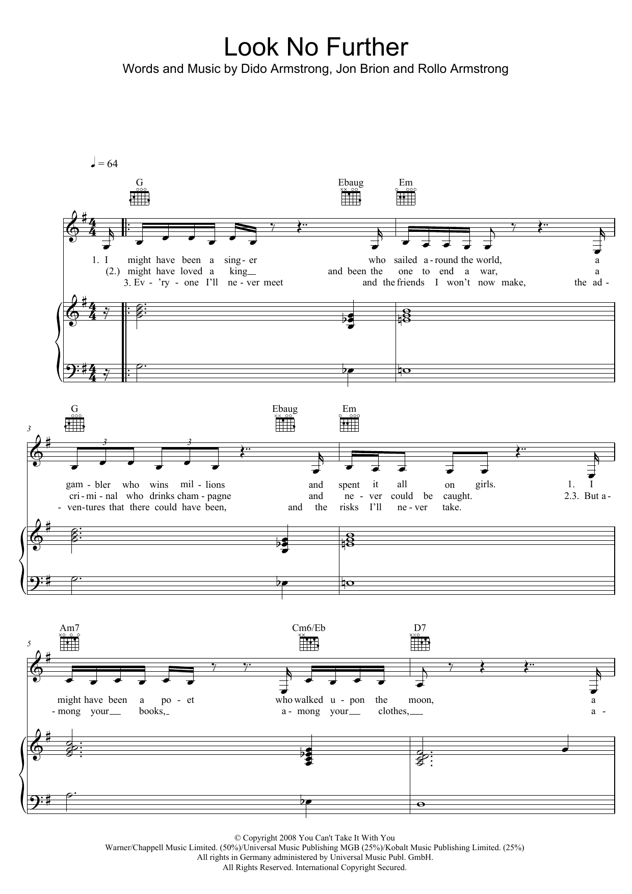Dido Look No Further sheet music notes and chords. Download Printable PDF.
