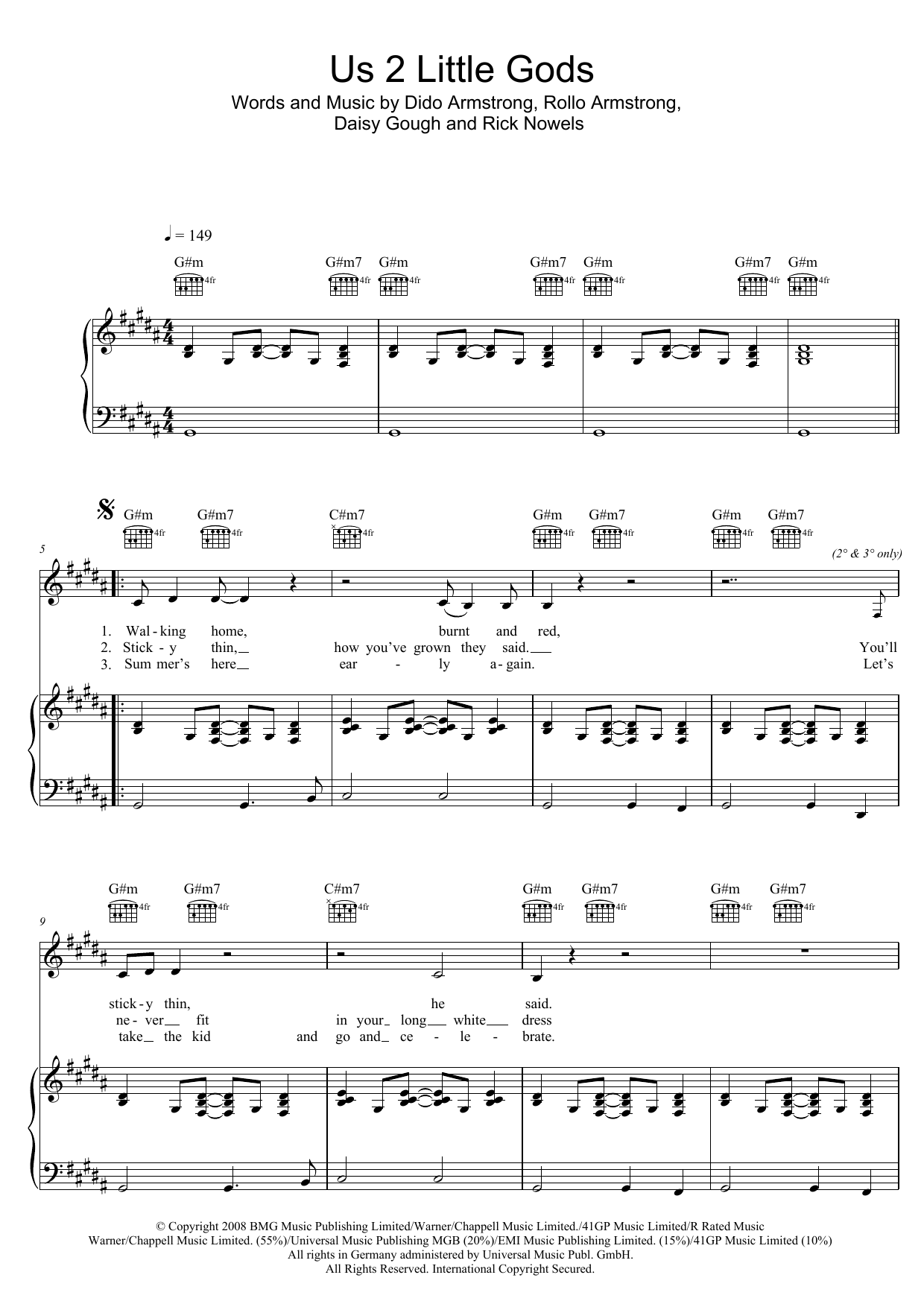 Dido Us 2 Little Gods sheet music notes and chords. Download Printable PDF.
