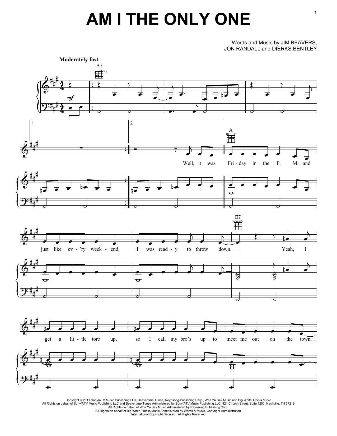 Dierks Bentley Am I The Only One Sheet Music Pdf Notes Chords Pop Score Piano Vocal Guitar Right Hand Melody Download Printable Sku 85996