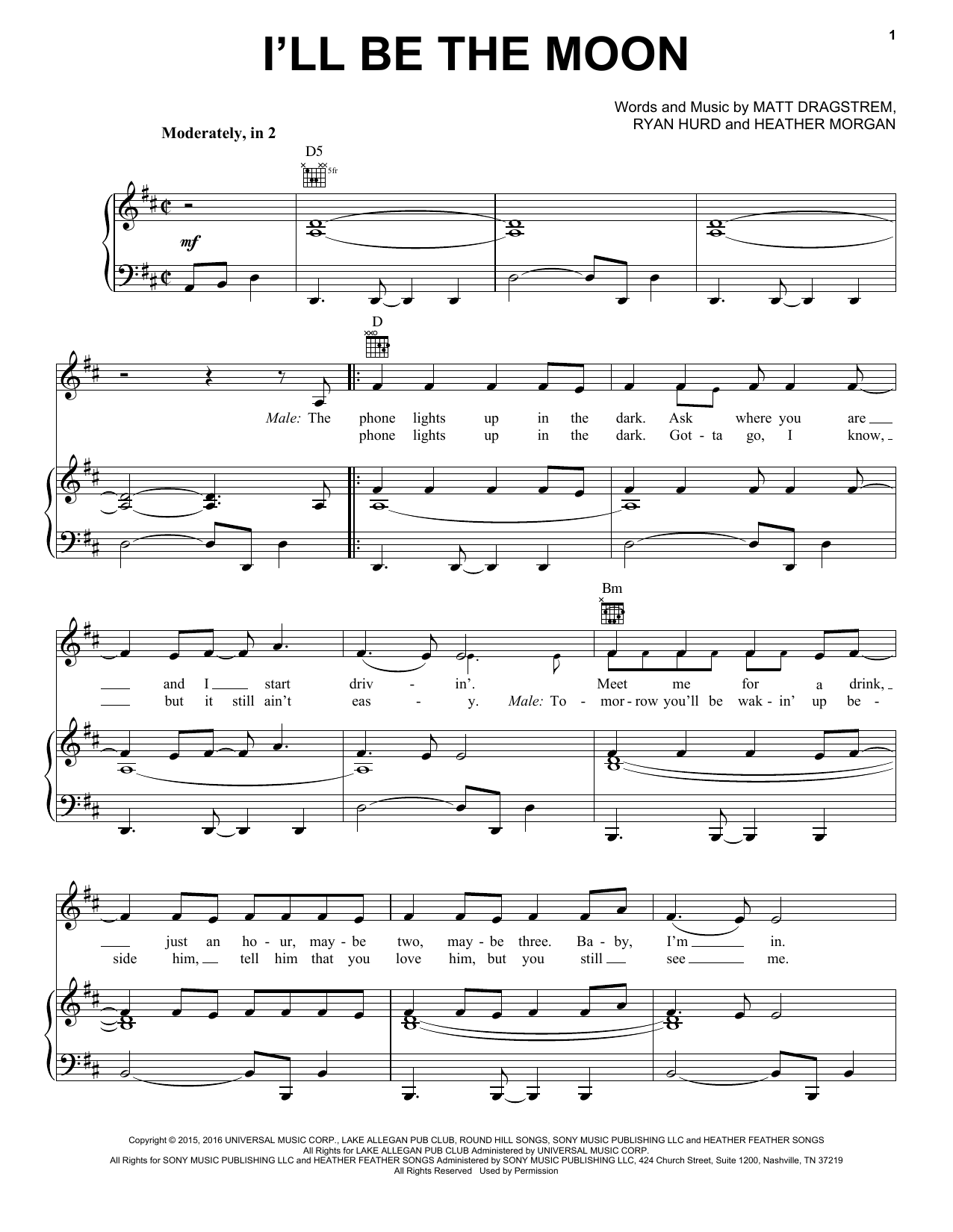 Dierks Bentley & Maren Morris I'll Be The Moon sheet music notes and chords. Download Printable PDF.