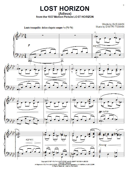 Dimitri Tiomkin Lost Horizon sheet music notes and chords. Download Printable PDF.