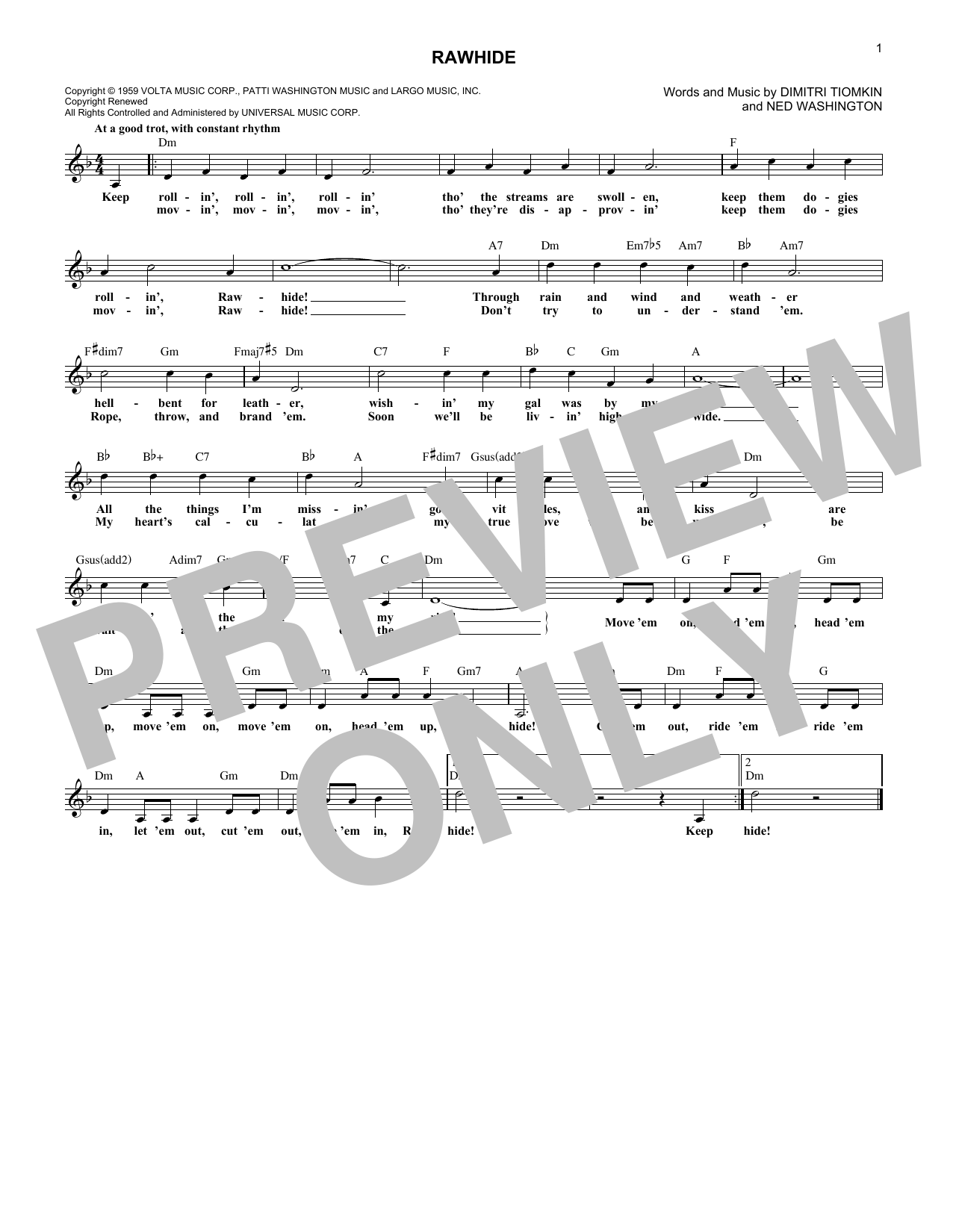 The Blues Brothers Rawhide sheet music notes and chords. Download Printable PDF.