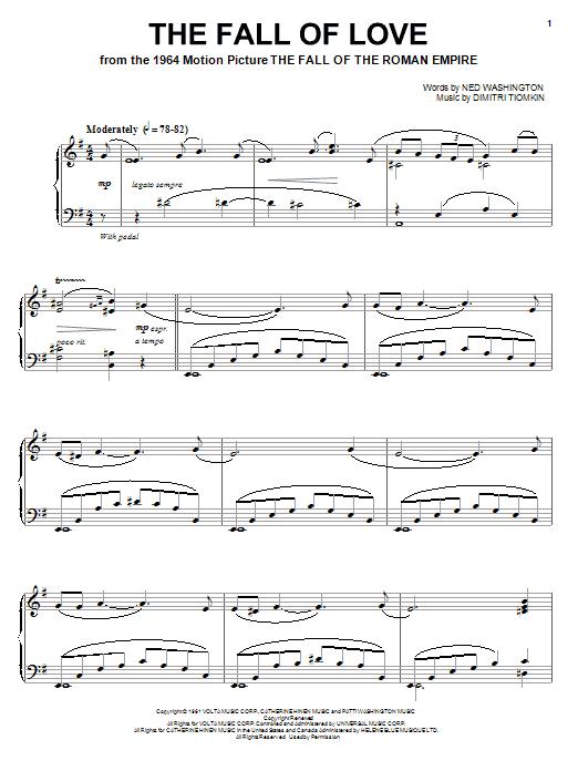 Dimitri Tiomkin The Fall Of Love sheet music notes and chords