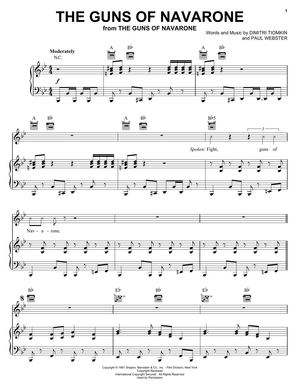 Dimitri Tiomkin The Guns Of Navarone sheet music notes and chords. Download Printable PDF.