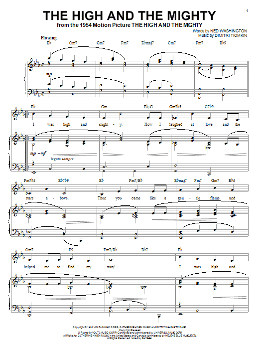 Dimitri Tiomkin The High And The Mighty sheet music notes and chords