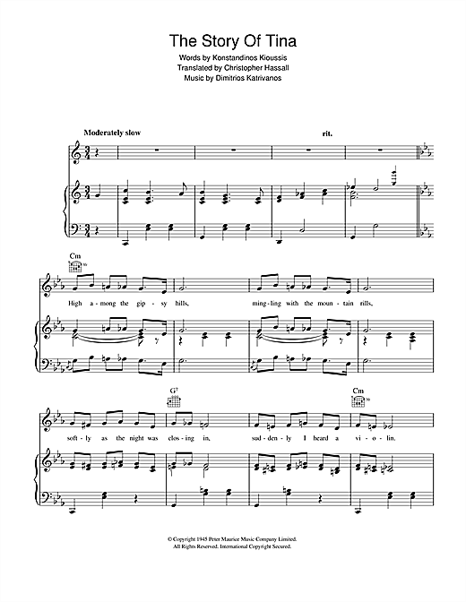 Dimitrios Katrivanos The Story Of Tina sheet music notes and chords. Download Printable PDF.