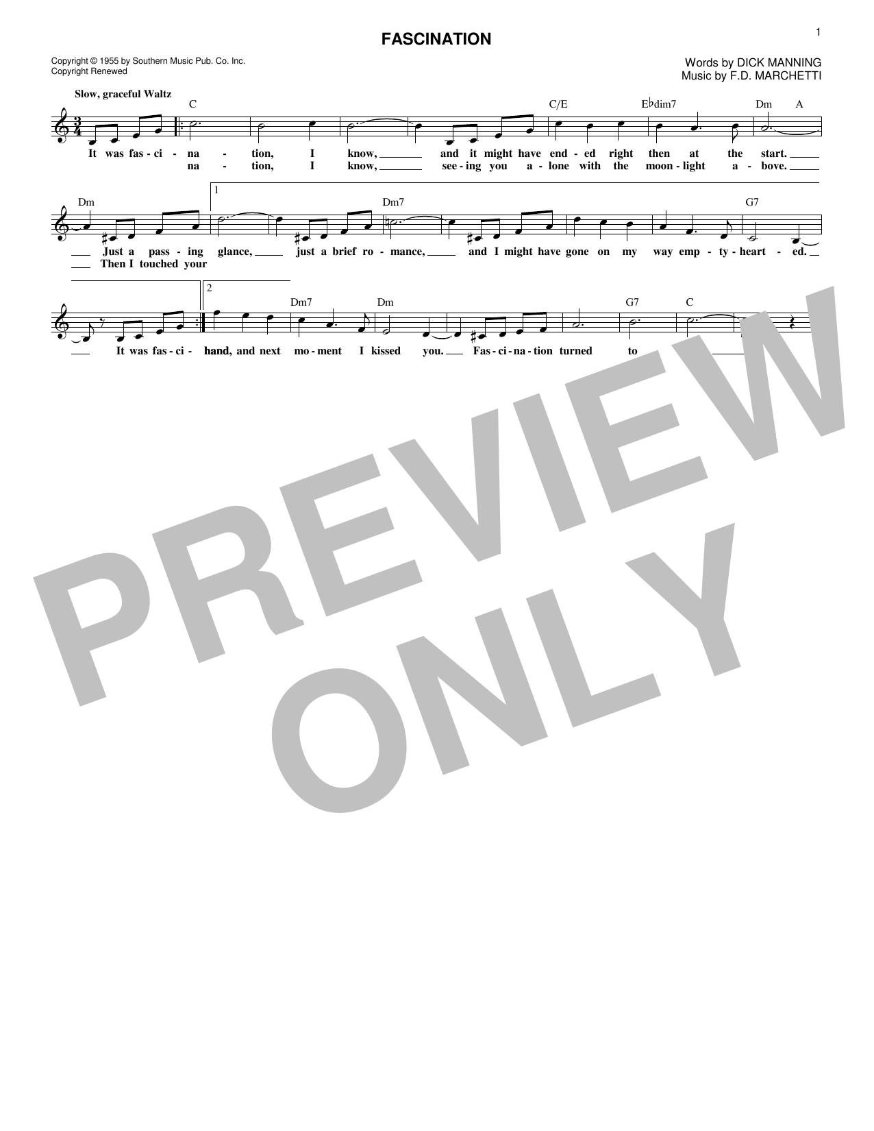 Dinah Shore Fascination sheet music notes and chords. Download Printable PDF.