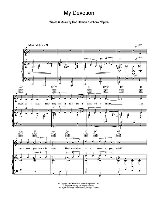 Dinah Washington My Devotion sheet music notes and chords. Download Printable PDF.