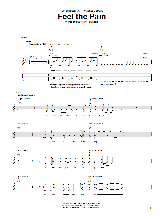 Dinosaur Jr. Feel The Pain sheet music notes and chords. Download Printable PDF.