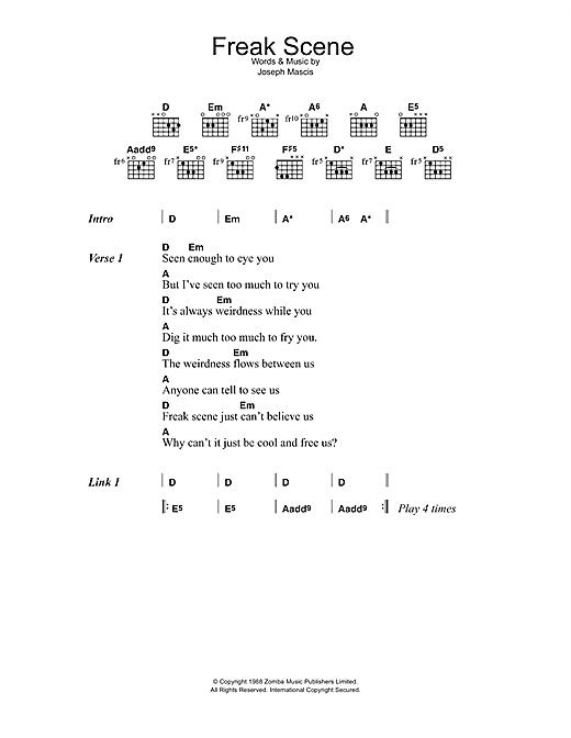 Dinosaur Jr. Freak Scene sheet music notes and chords. Download Printable PDF.