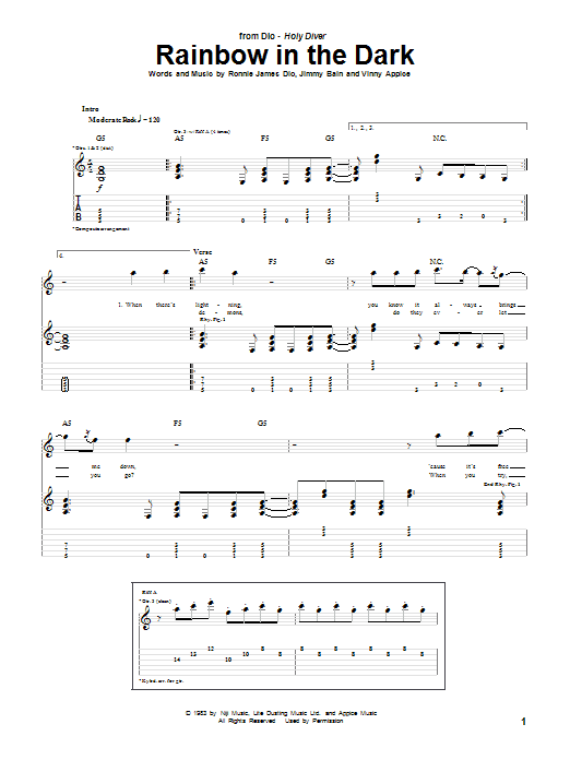 Dio Rainbow In The Dark sheet music notes and chords. Download Printable PDF.