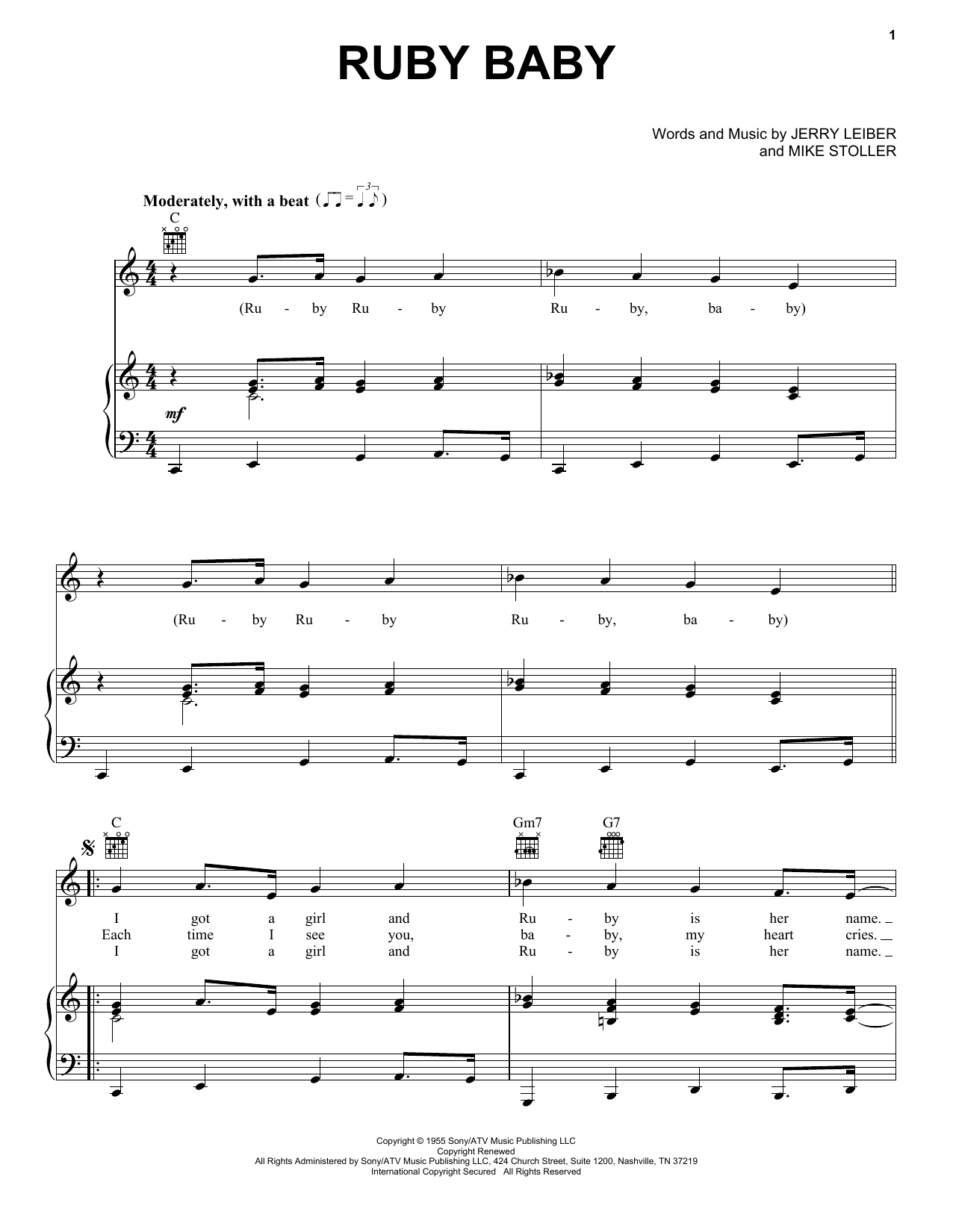Dion Ruby Baby sheet music notes and chords. Download Printable PDF.