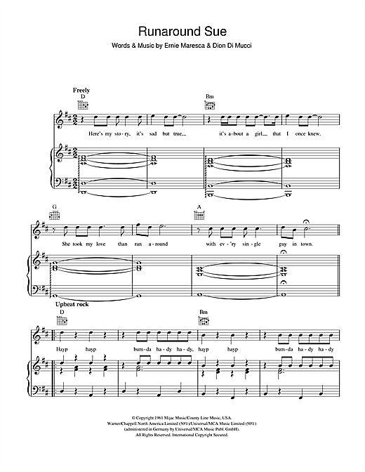 Dion Runaround Sue sheet music notes and chords. Download Printable PDF.