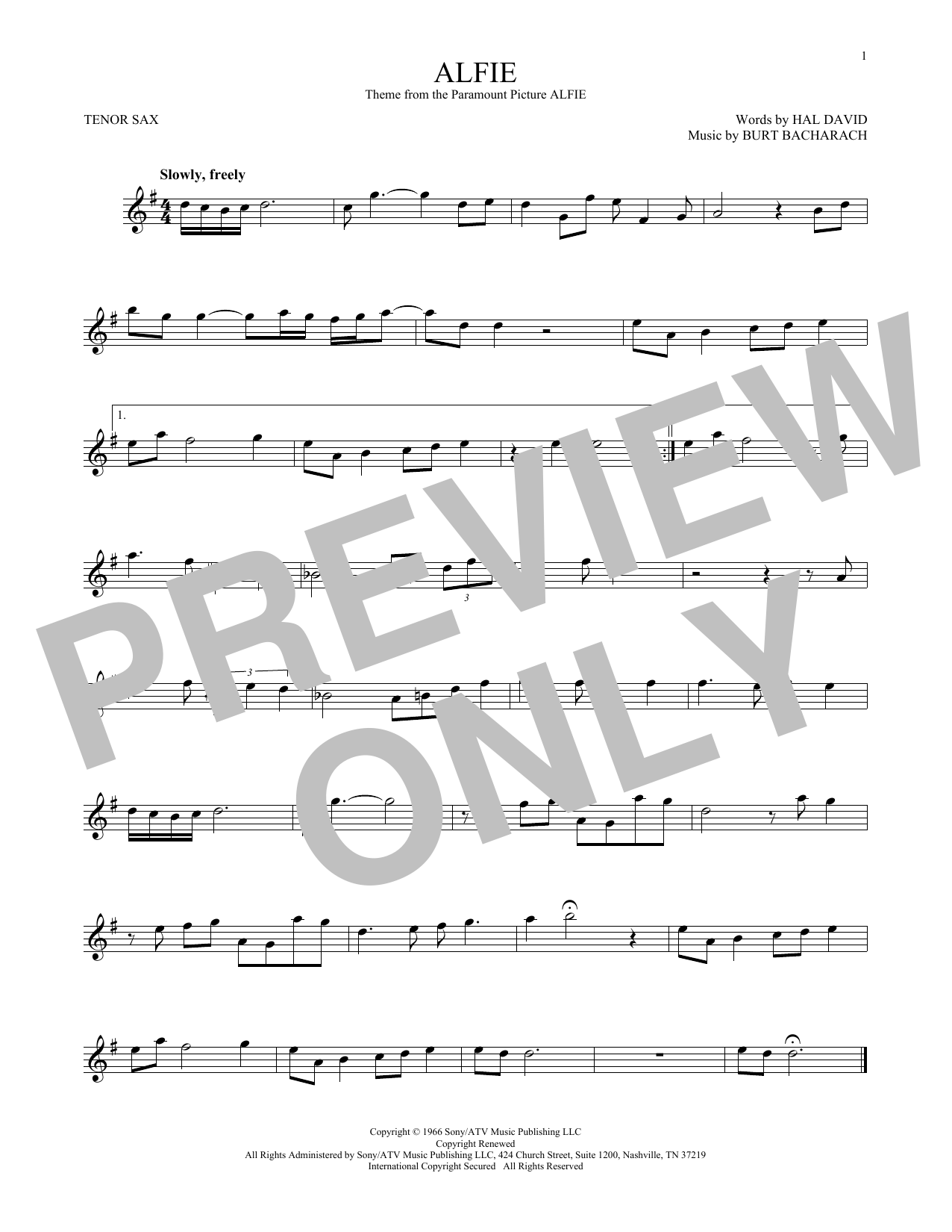Dionne Warwick Alfie sheet music notes and chords. Download Printable PDF.