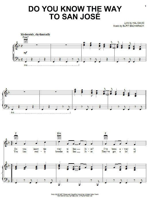 Dionne Warwick Do You Know The Way To San Jose sheet music notes and chords. Download Printable PDF.