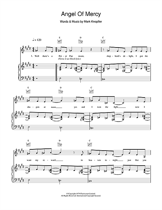 Dire Straits Angel Of Mercy sheet music notes and chords. Download Printable PDF.