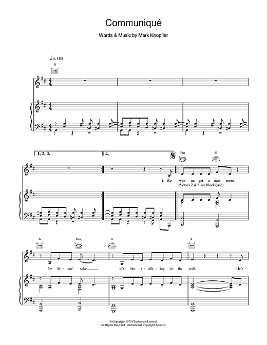 Dire Straits Communique sheet music notes and chords