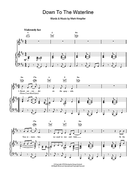 Dire Straits Down To The Waterline sheet music notes and chords. Download Printable PDF.