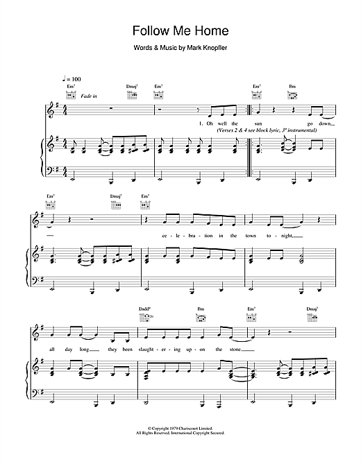 Dire Straits Follow Me Home sheet music notes and chords. Download Printable PDF.