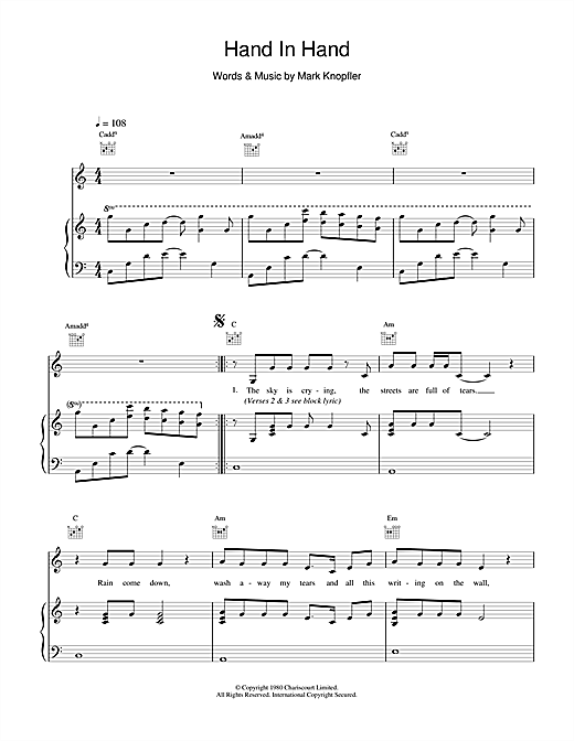 Dire Straits Hand In Hand sheet music notes and chords