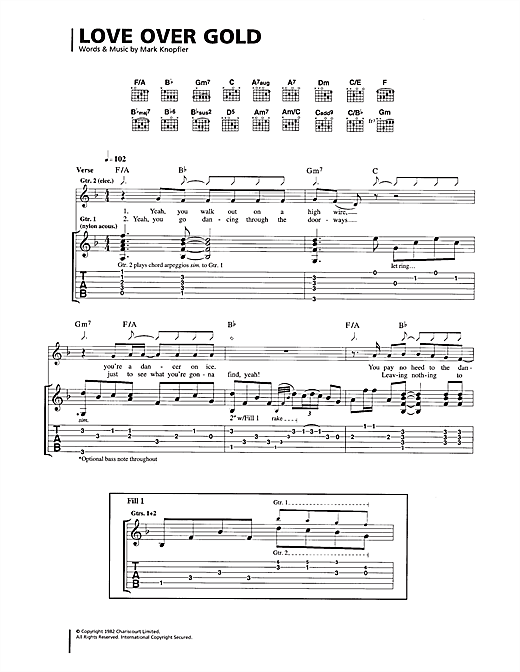Dire Straits Love Over Gold sheet music notes and chords. Download Printable PDF.