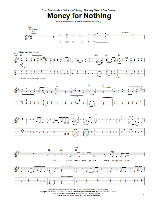 Dire Straits Money For Nothing sheet music notes and chords. Download Printable PDF.